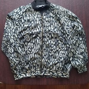 Vintage Leopard Print Silk Bomber Jacket